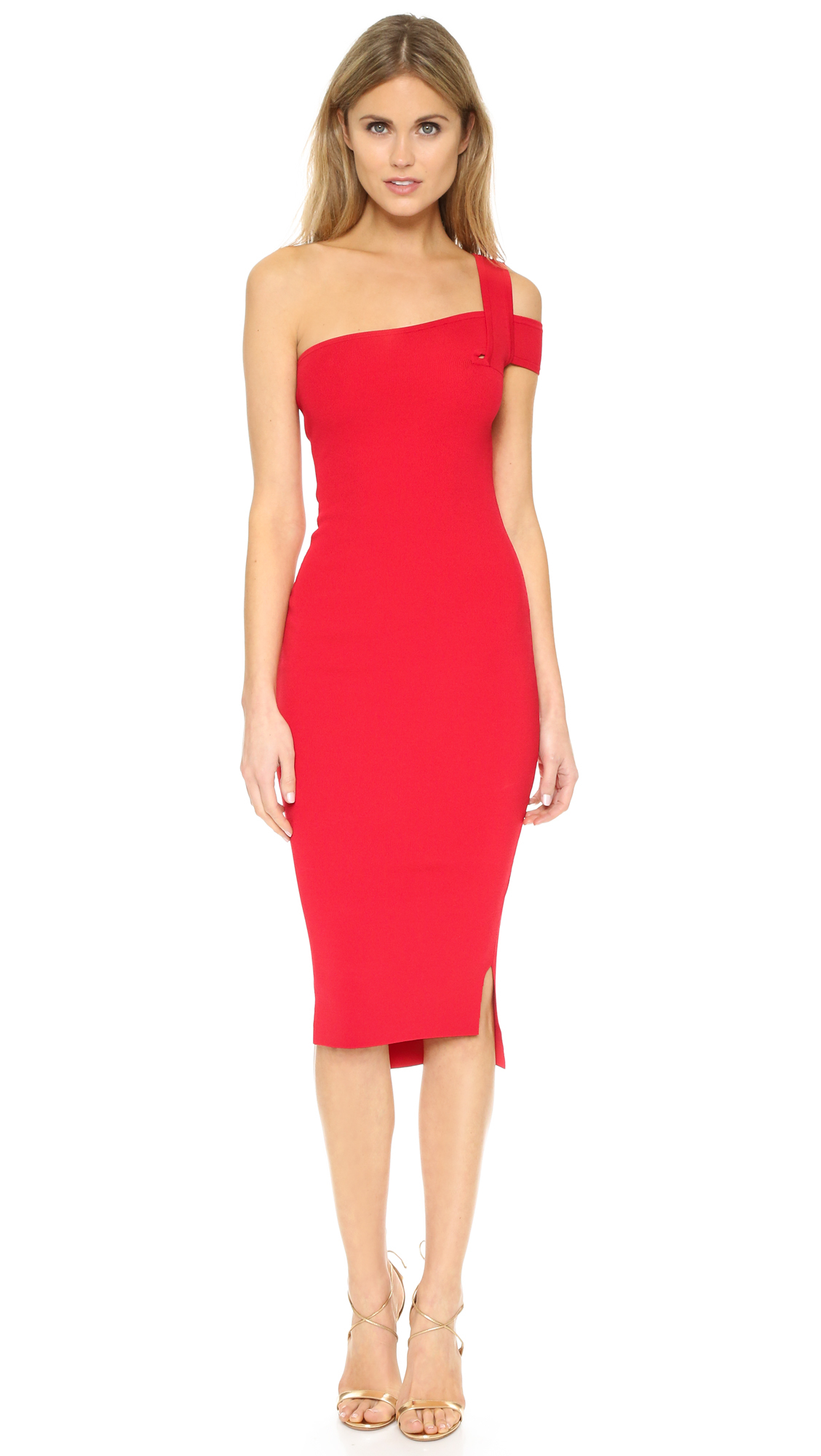 Nicholas Knit One-Shoulder Dress in Red  Lyst