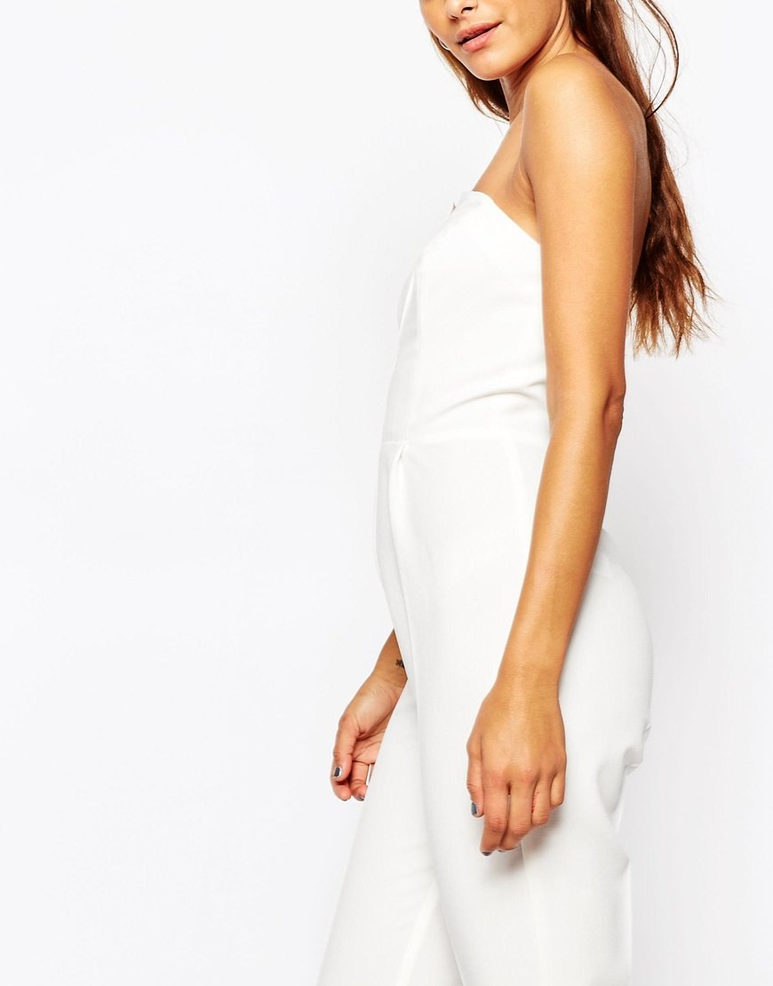 lyst asos pleated origami jumpsuit in white