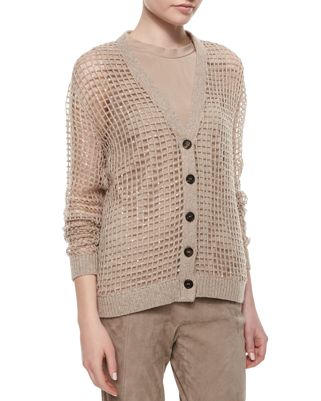 Brunello cucinelli Luxury Knit Cashmere Sequin Cardigan in Brown ...