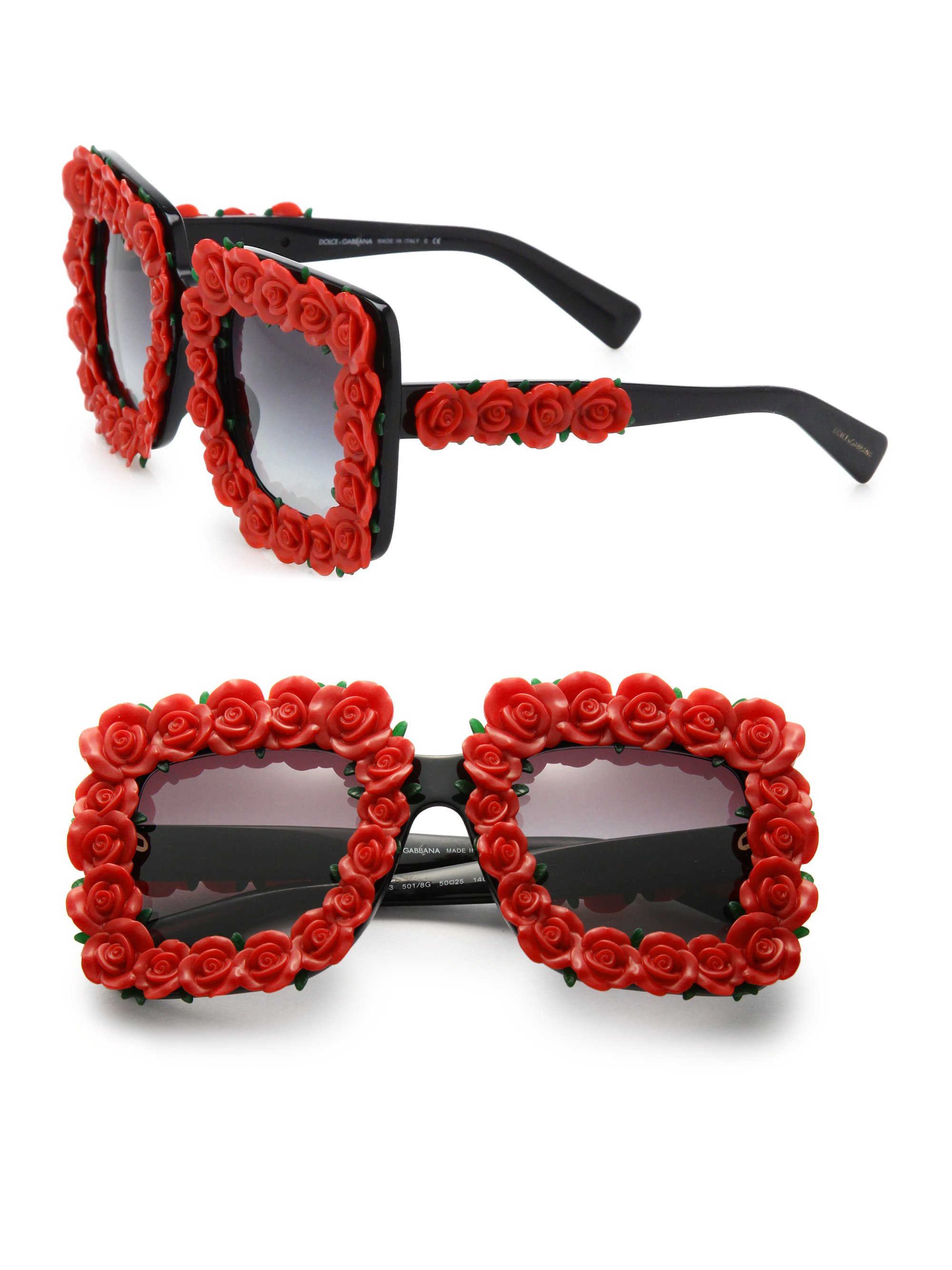 Lyst - Dolce   Gabbana Floral Embellished 50mm Square Sunglasses in Red 58f649c7d9