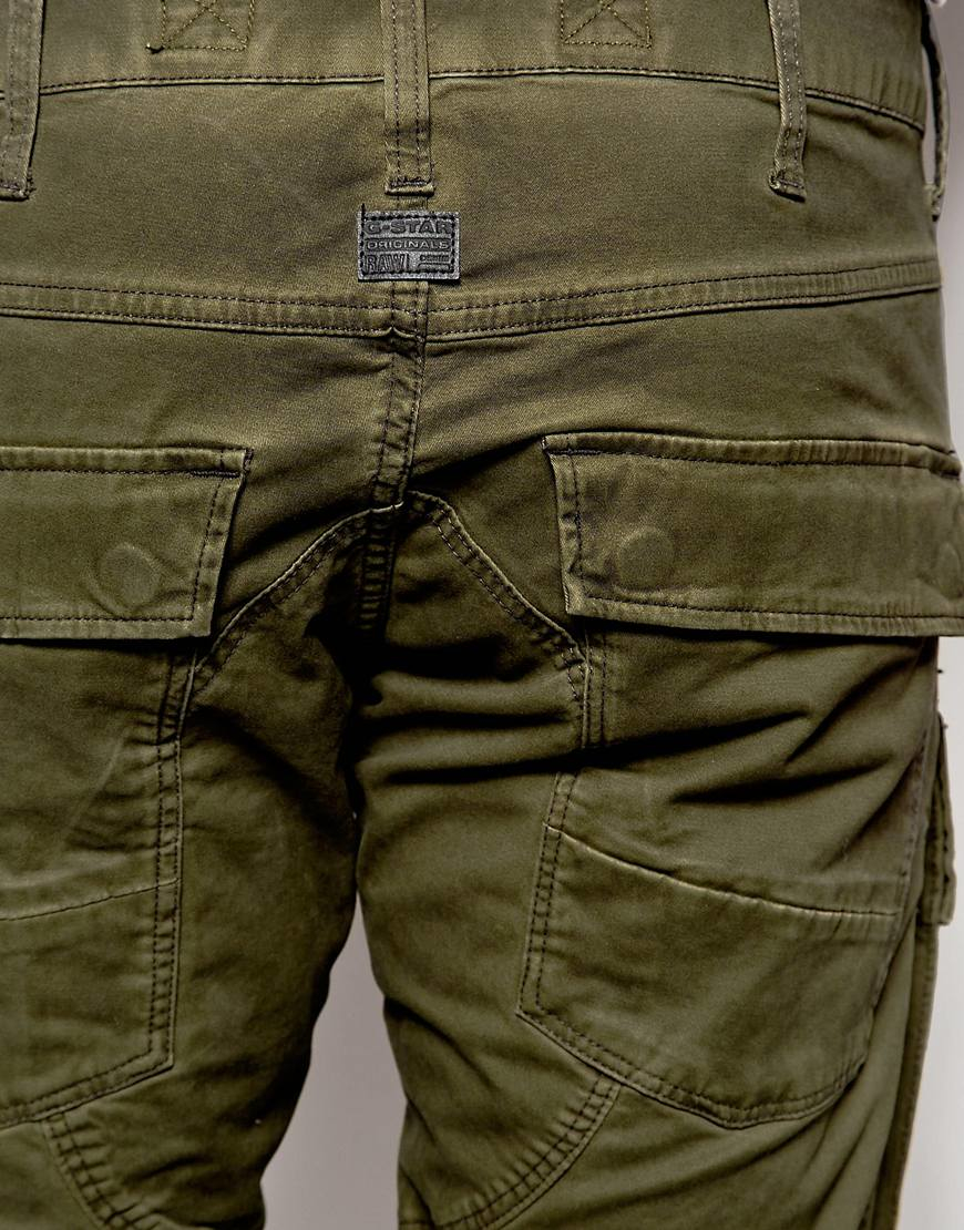 g star raw cargo pants air defence 5620 elwood 3d slim fit stretch twill in asfalt in green for. Black Bedroom Furniture Sets. Home Design Ideas