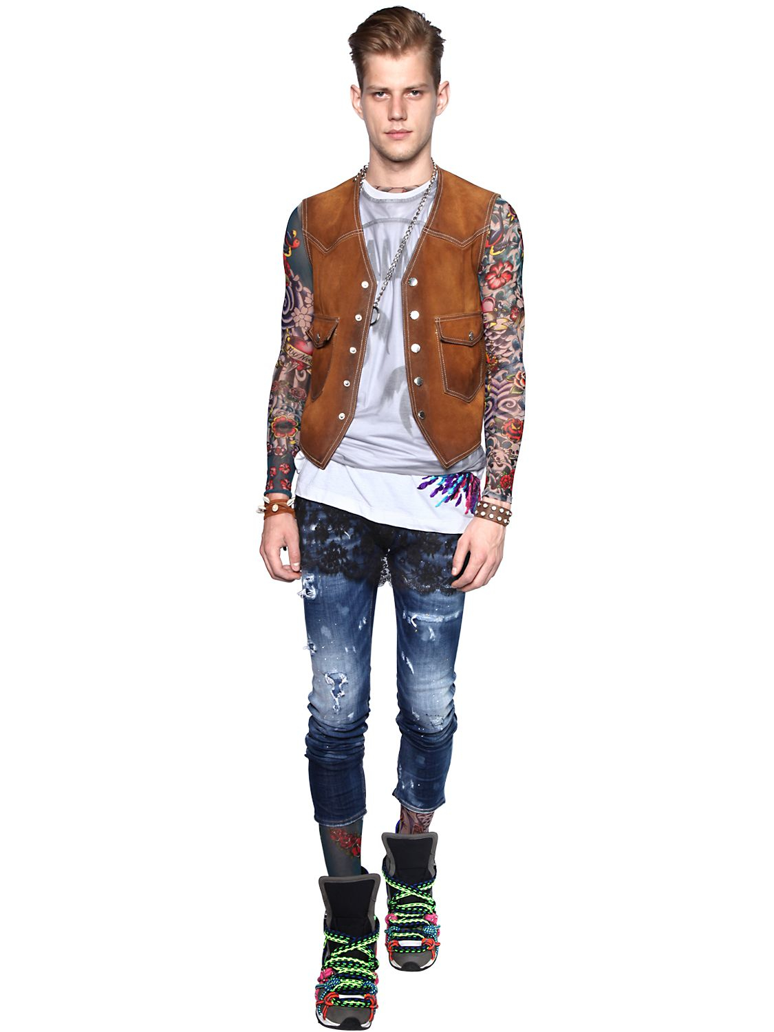 Lyst Dsquared 178 Tattoo Printed Sheer Long Sleeve T Shirt For Men
