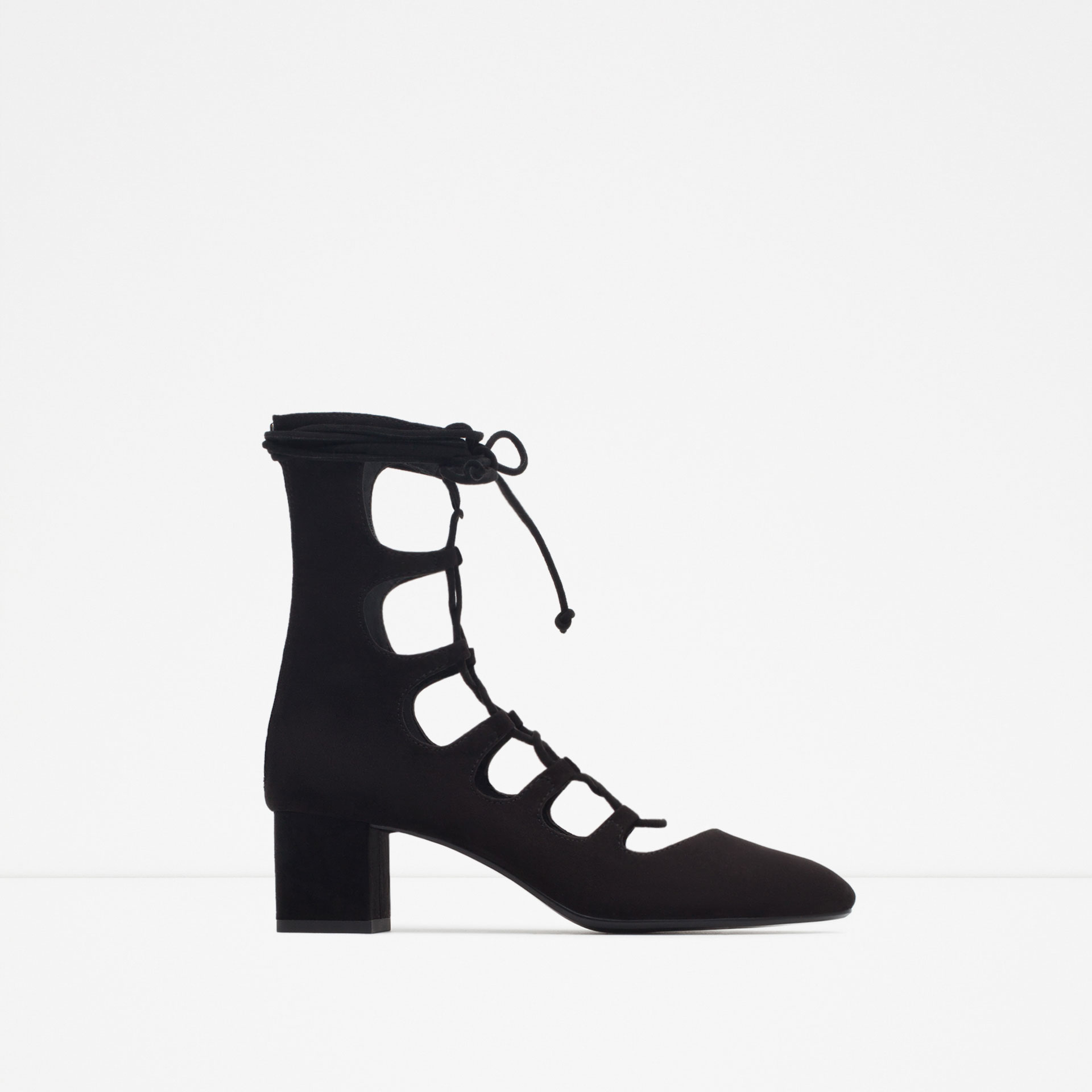Zara Lace-up Heeled Shoes in Black | Lyst