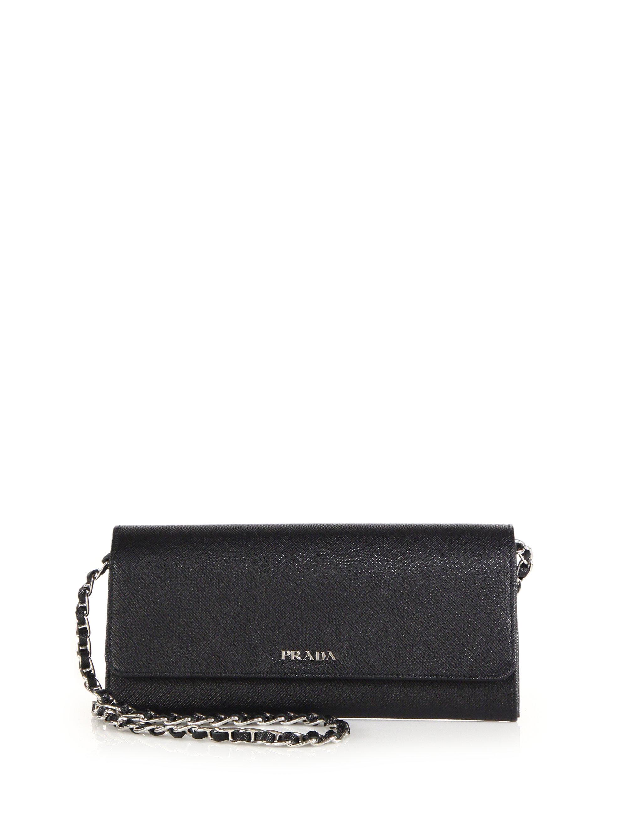 light blue prada handbag - Prada Saffiano Bicolor Chain Wallet in Black (nero) | Lyst