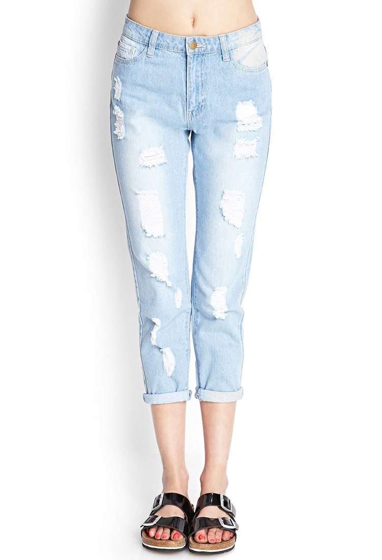 Forever 21 Ripped Boyfriend Jeans in Blue | Lyst