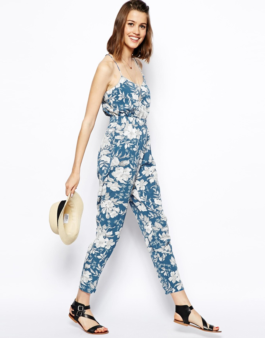 Lyst - Asos Strappy Jumpsuit In Large Floral Print in Blue