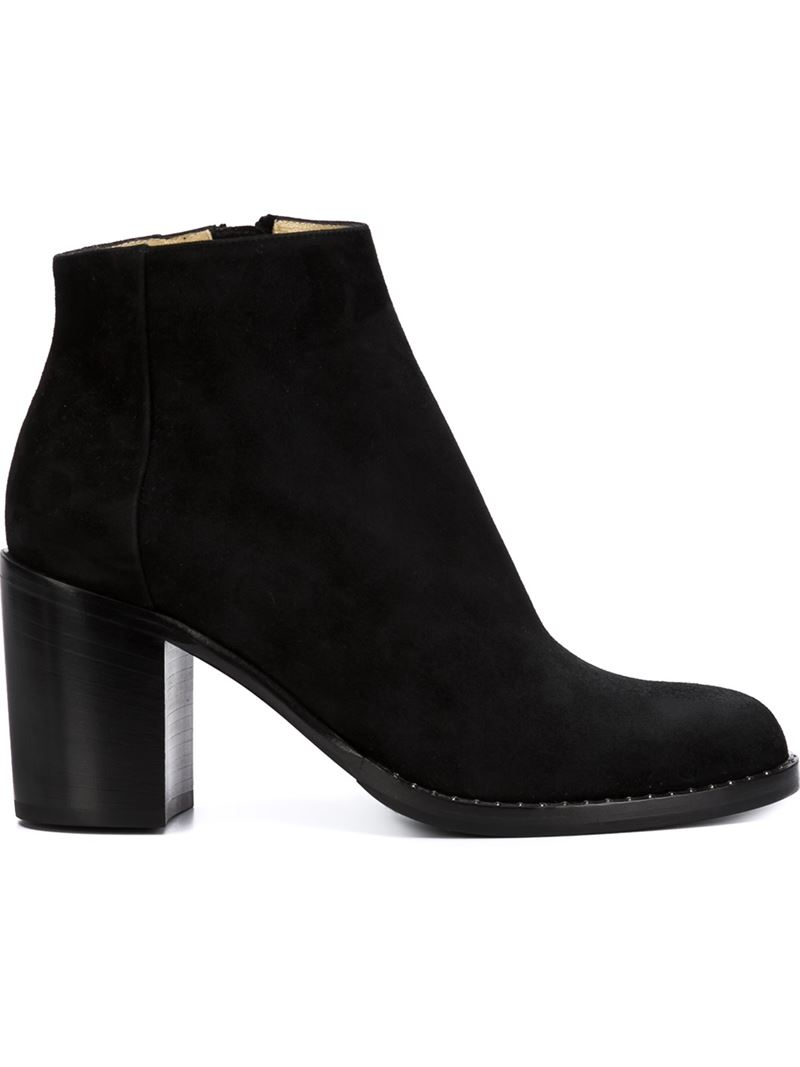 paul andrew chunky heel ankle boots in black lyst