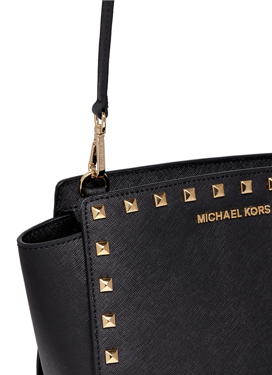 ... clearance michael kors selma studded saffiano leather cross body bag in  black d4106 68937 7bde2b8dbe720