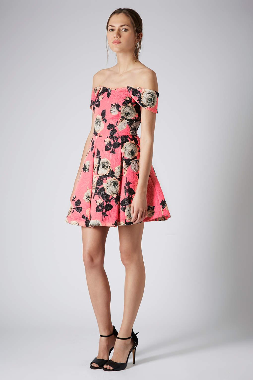 Topshop Bardot Floral Prom Dress In Pink