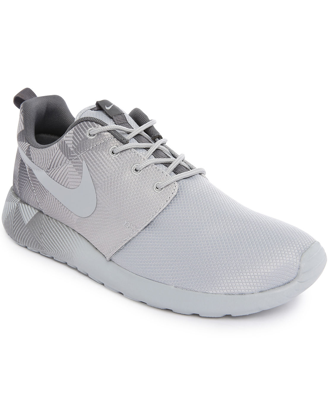 nike roshe run mesh print grey mono sneakers in gray for. Black Bedroom Furniture Sets. Home Design Ideas