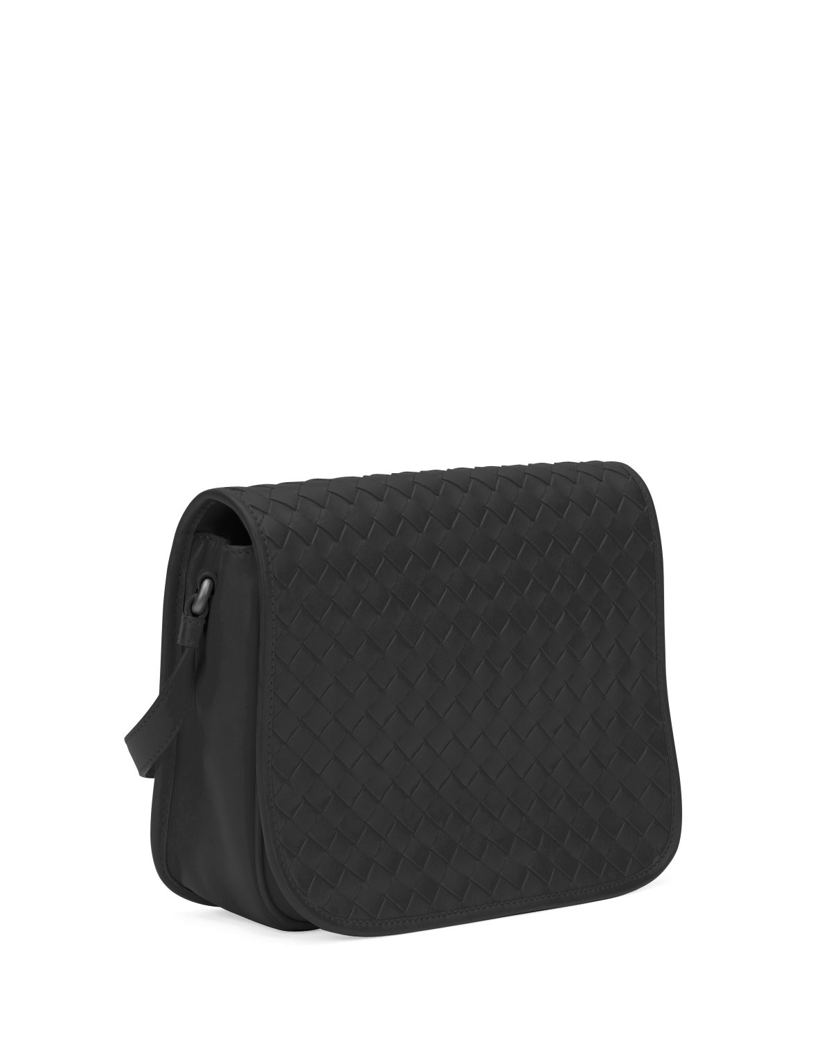Lyst - Bottega Veneta Small Woven Flap Crossbody Bag in Black e1521f3970522