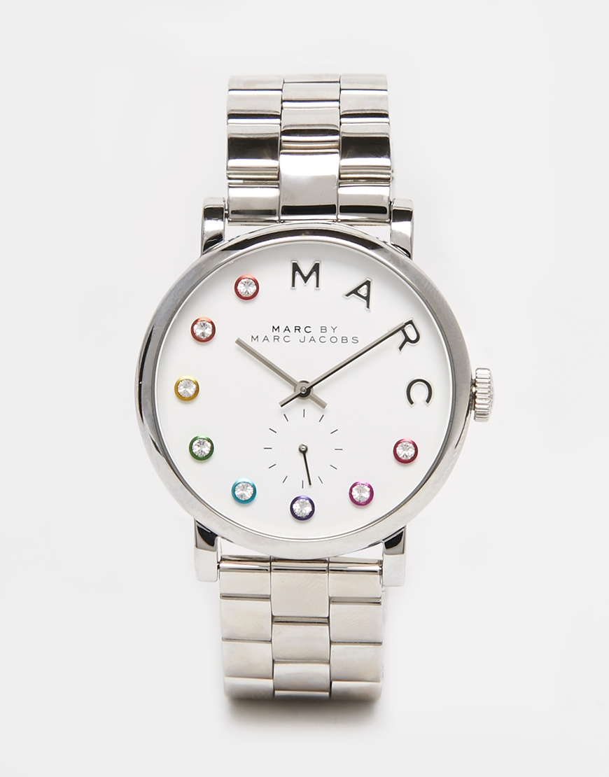 lyst marc jacobs silver baxter dexter mbm3420 watch in