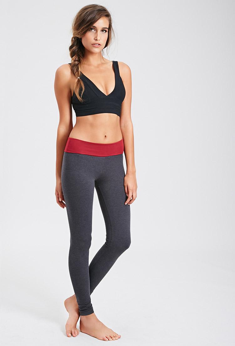 Forever 21 Active Fold-over Yoga Leggings in Gray | Lyst