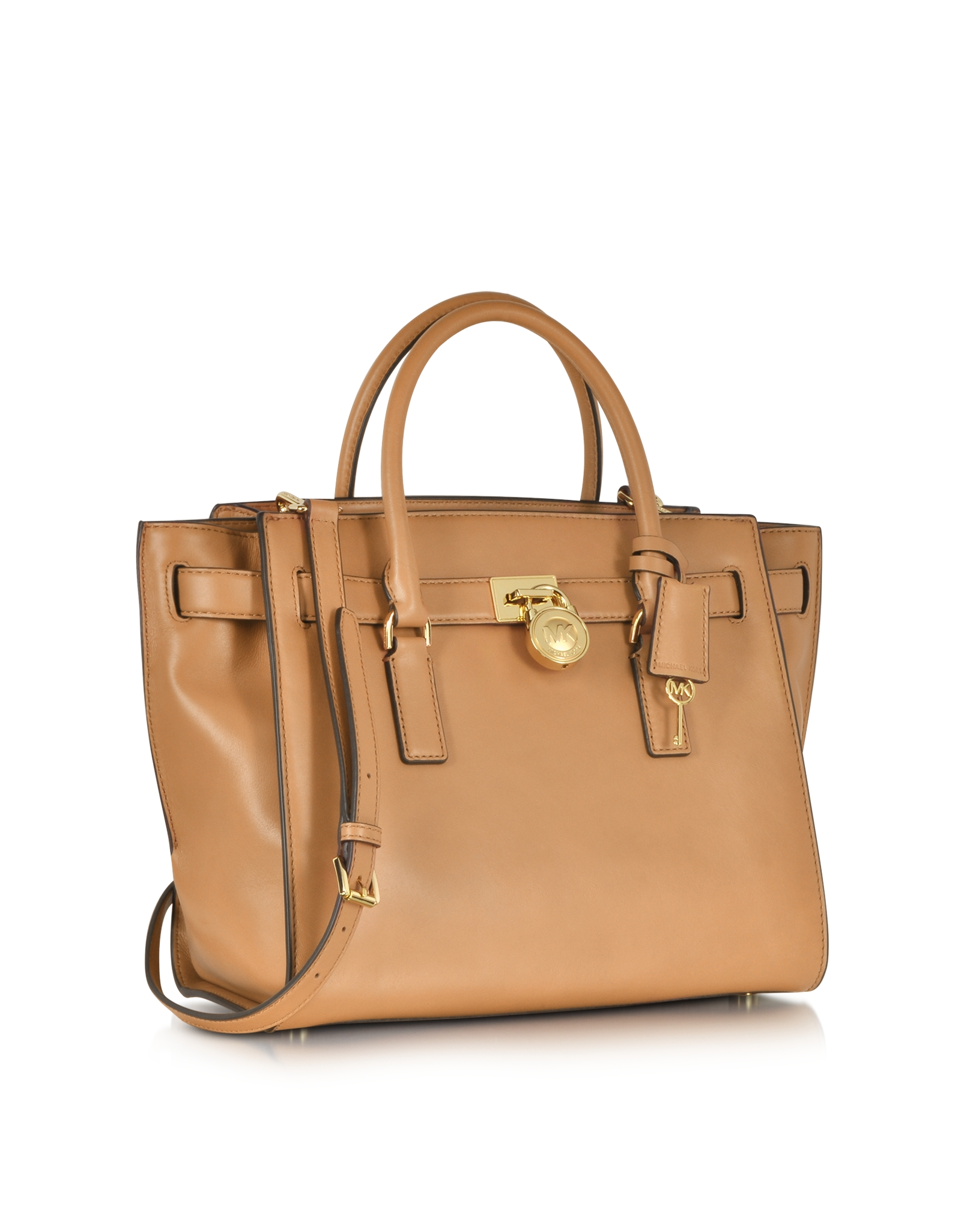 add31e7a73c9 Michael Kors Hamilton Traveler Large Leather Satchel in Natural - Lyst