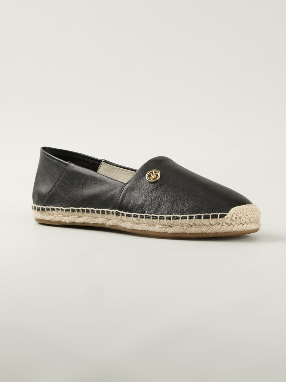 michael michael kors leather espadrilles in black lyst. Black Bedroom Furniture Sets. Home Design Ideas