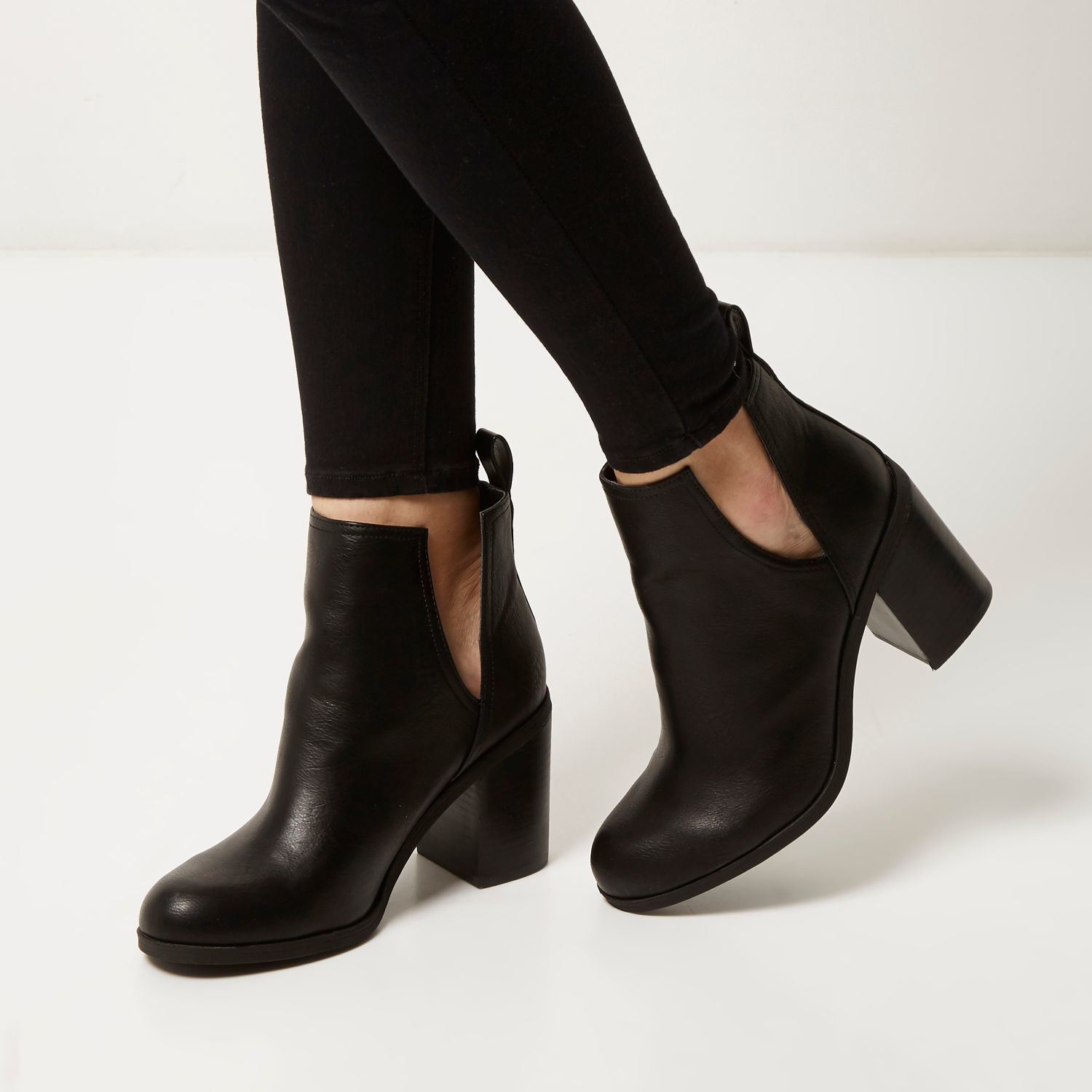 river island black cut out side heeled ankle boots in