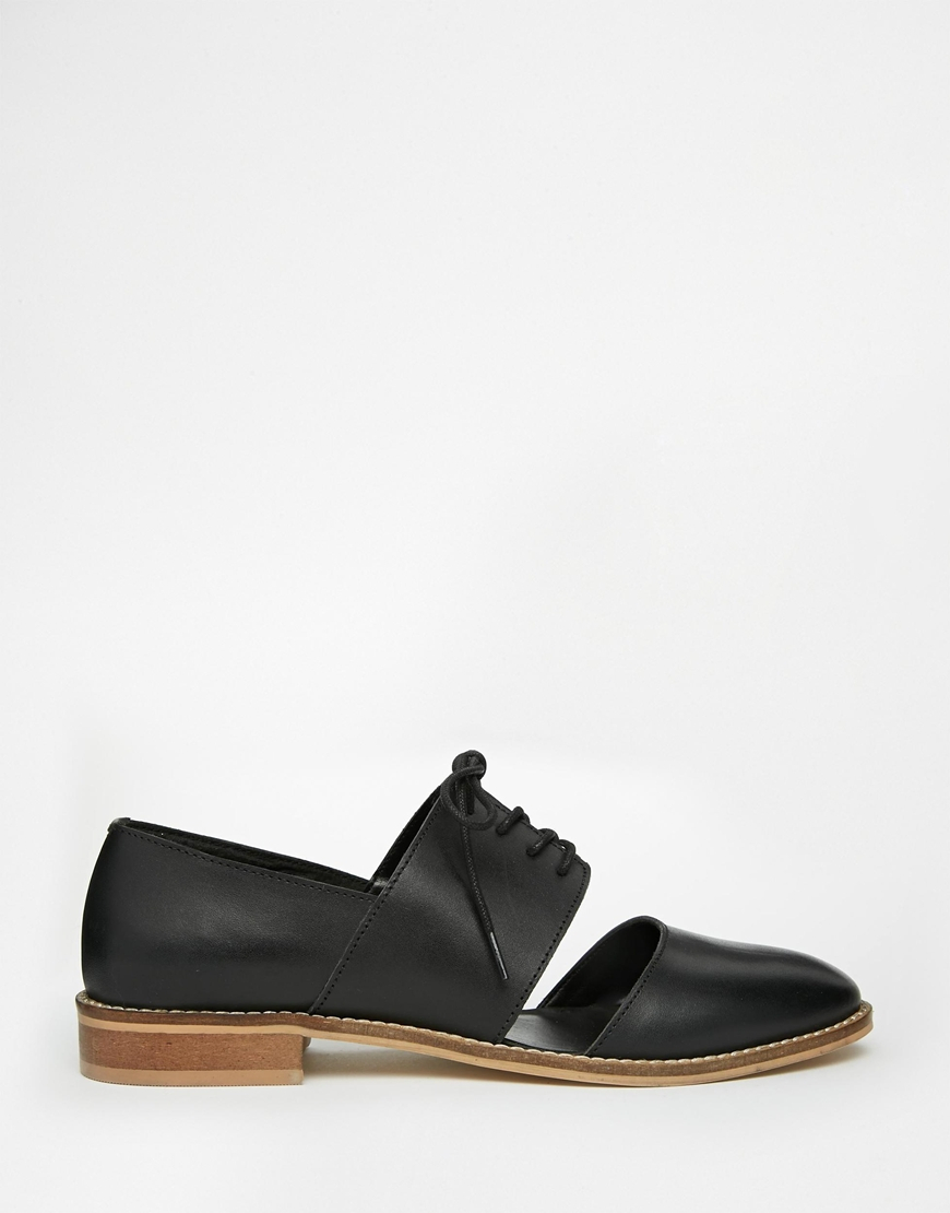 asos marcie leather wide fit flat shoes in black lyst