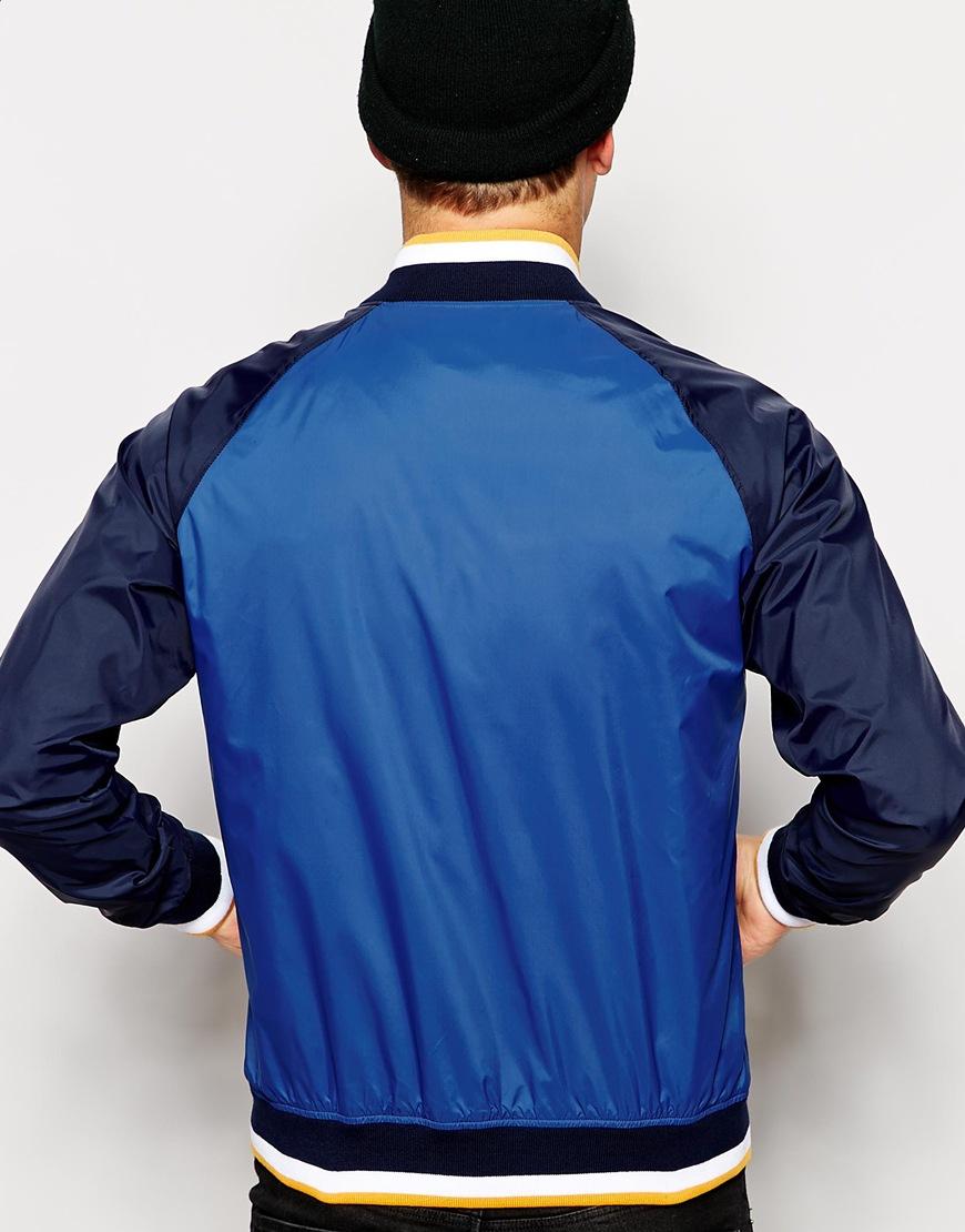 lacoste l ive bomber jacket with big crocodile in blue for men lyst. Black Bedroom Furniture Sets. Home Design Ideas