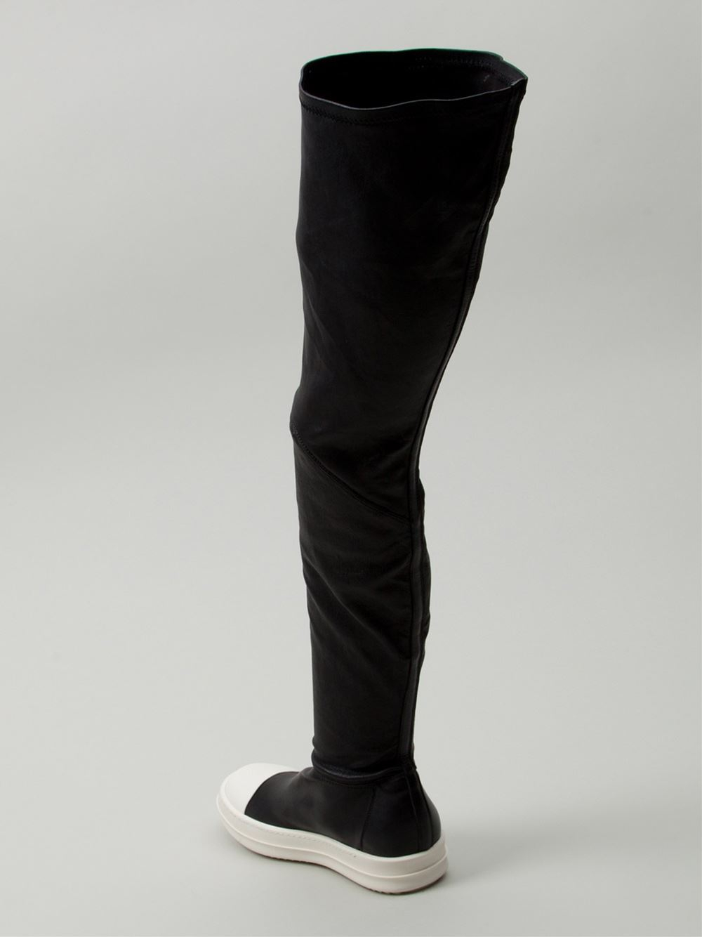 Rick owens Thigh High Sneaker Boots in Black | Lyst