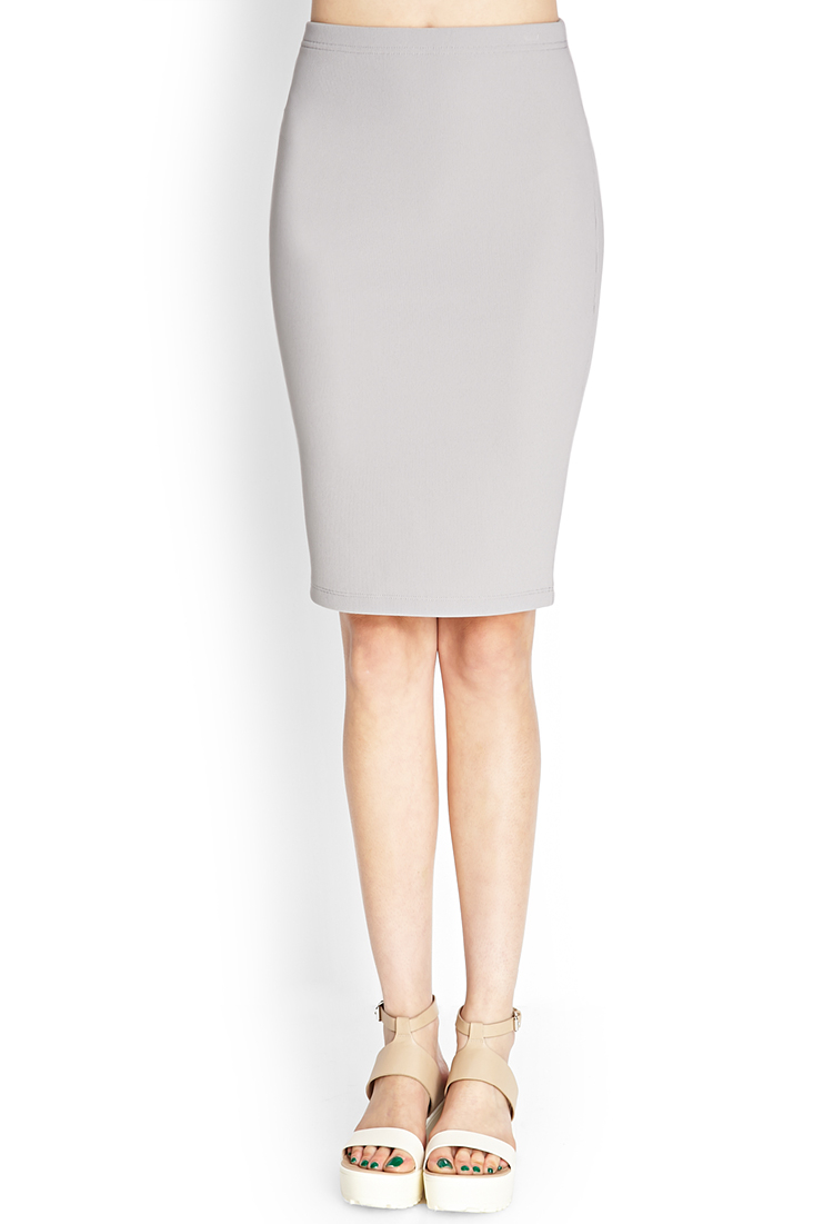 Forever 21 Ribbed Pencil Skirt in Gray | Lyst