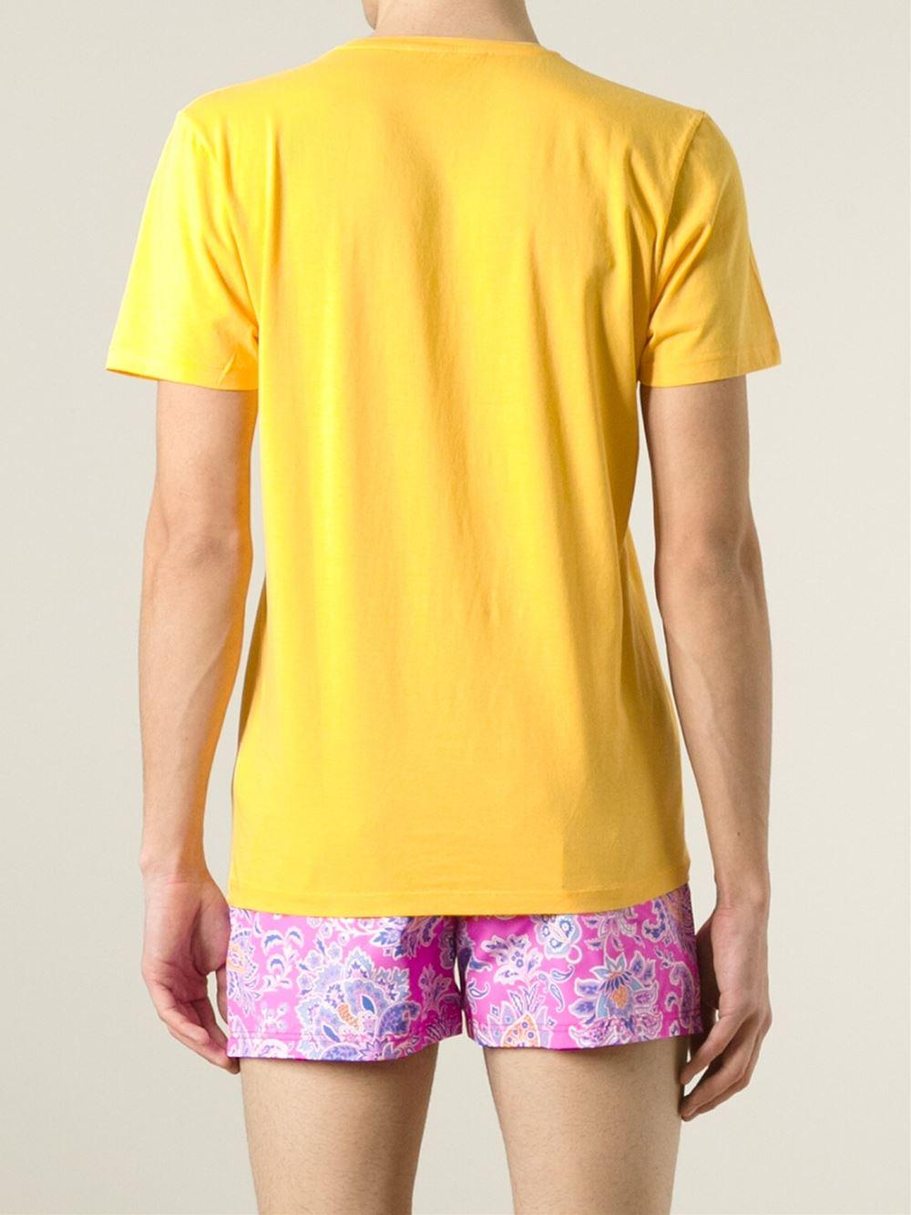 Lyst Etro Fish Print T Shirt In Yellow For Men