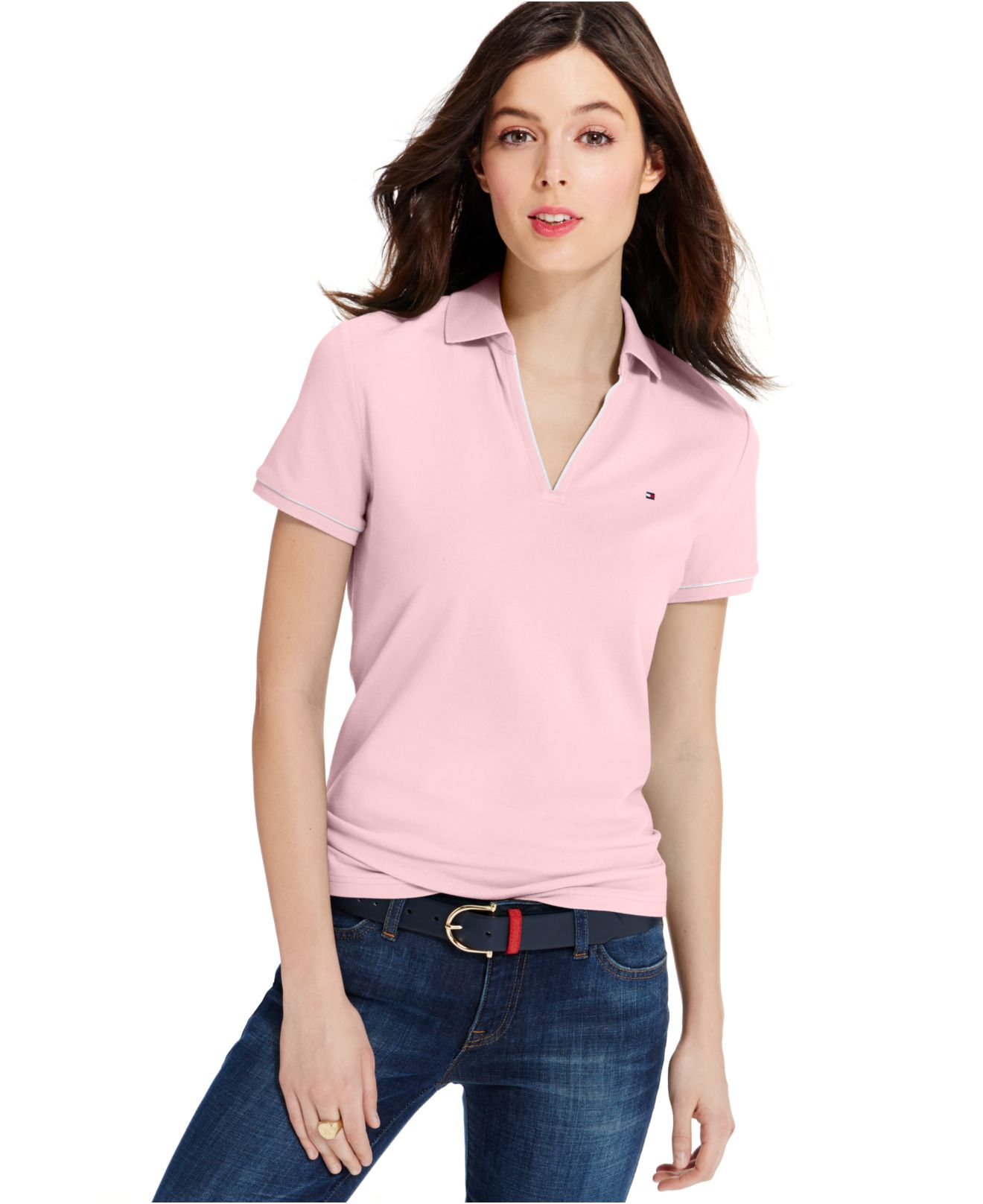 Tommy Hilfiger Womens Stripe Trim Polo Shirt, White