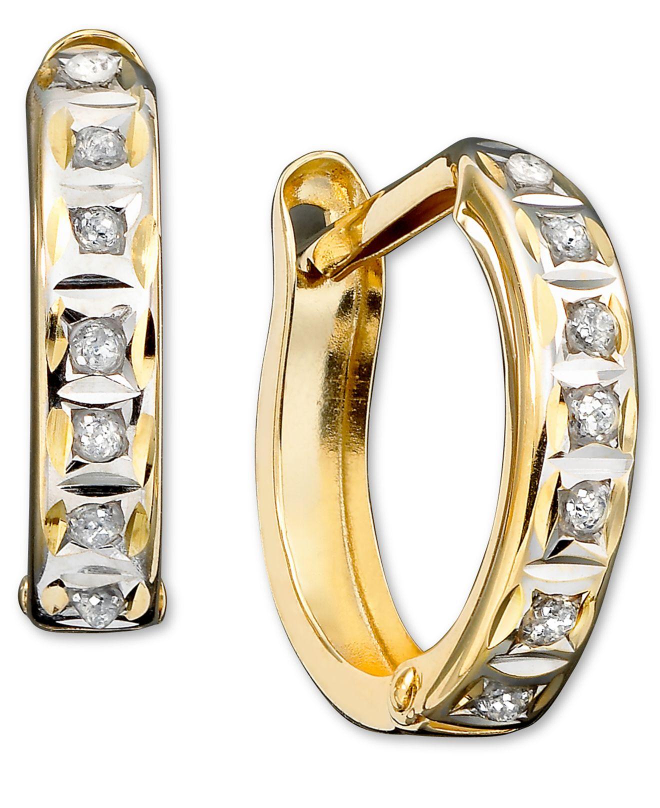 Lyst Macy S 14k Gold Earrings Diamond Accent Hoop Earrings In