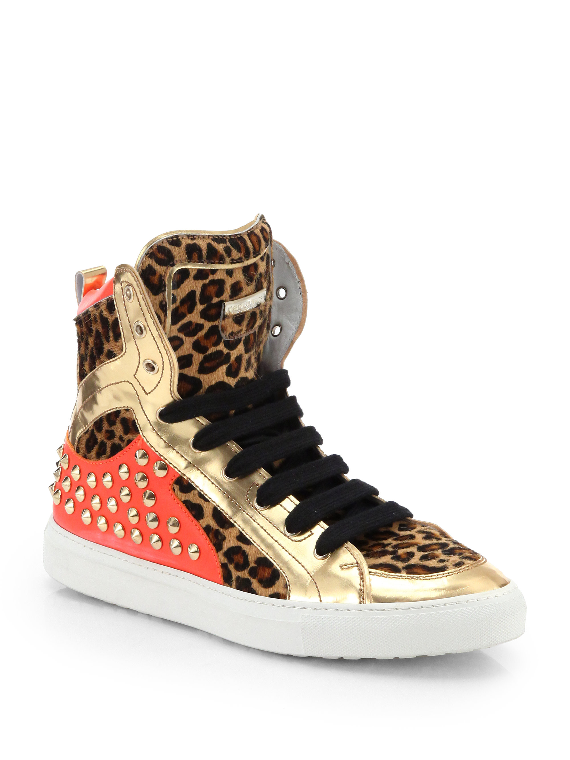Lyst Dsquared 178 Leopard Print Pony Hair Studded High Top