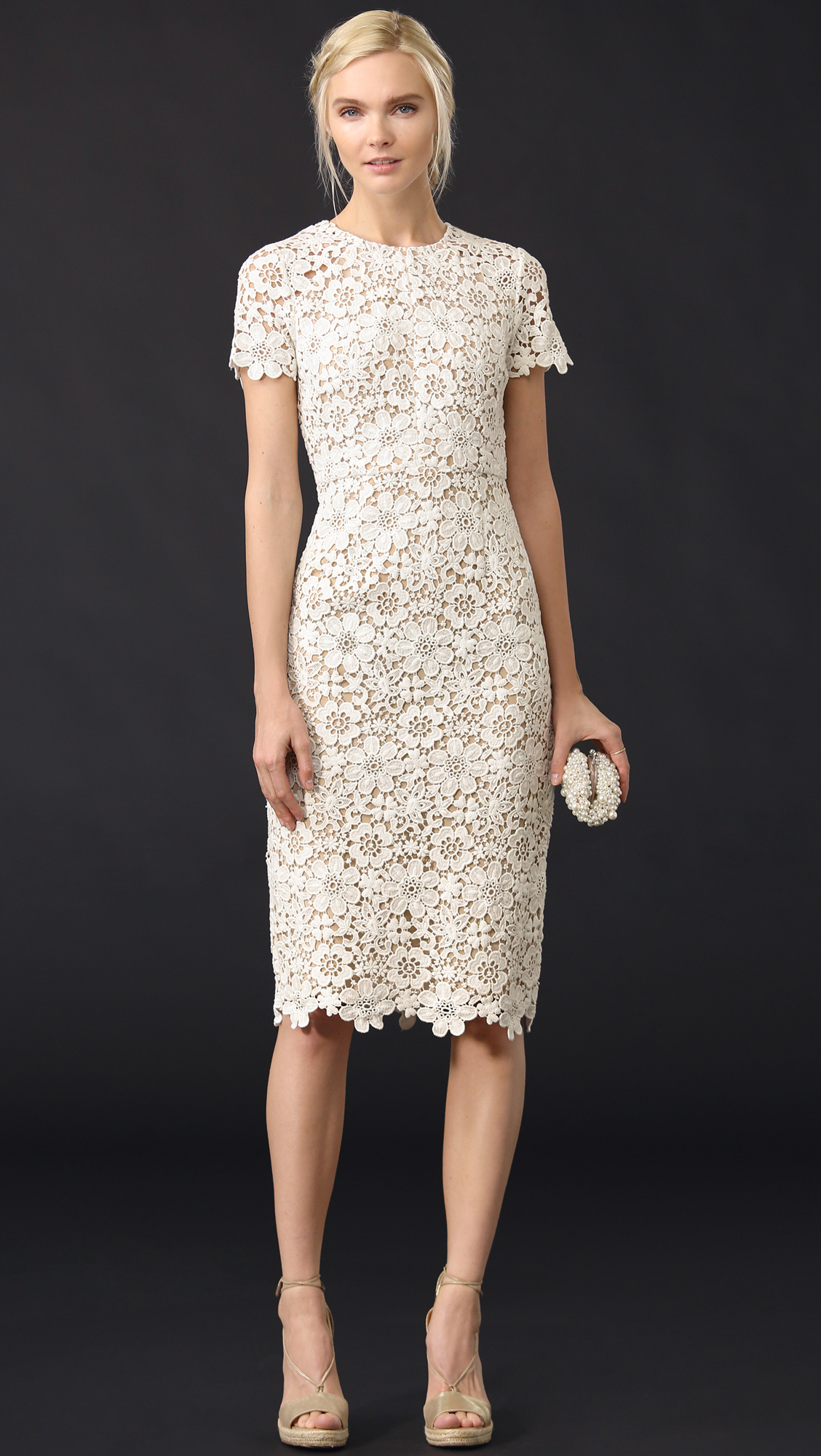 shoshanna white floral lace dress