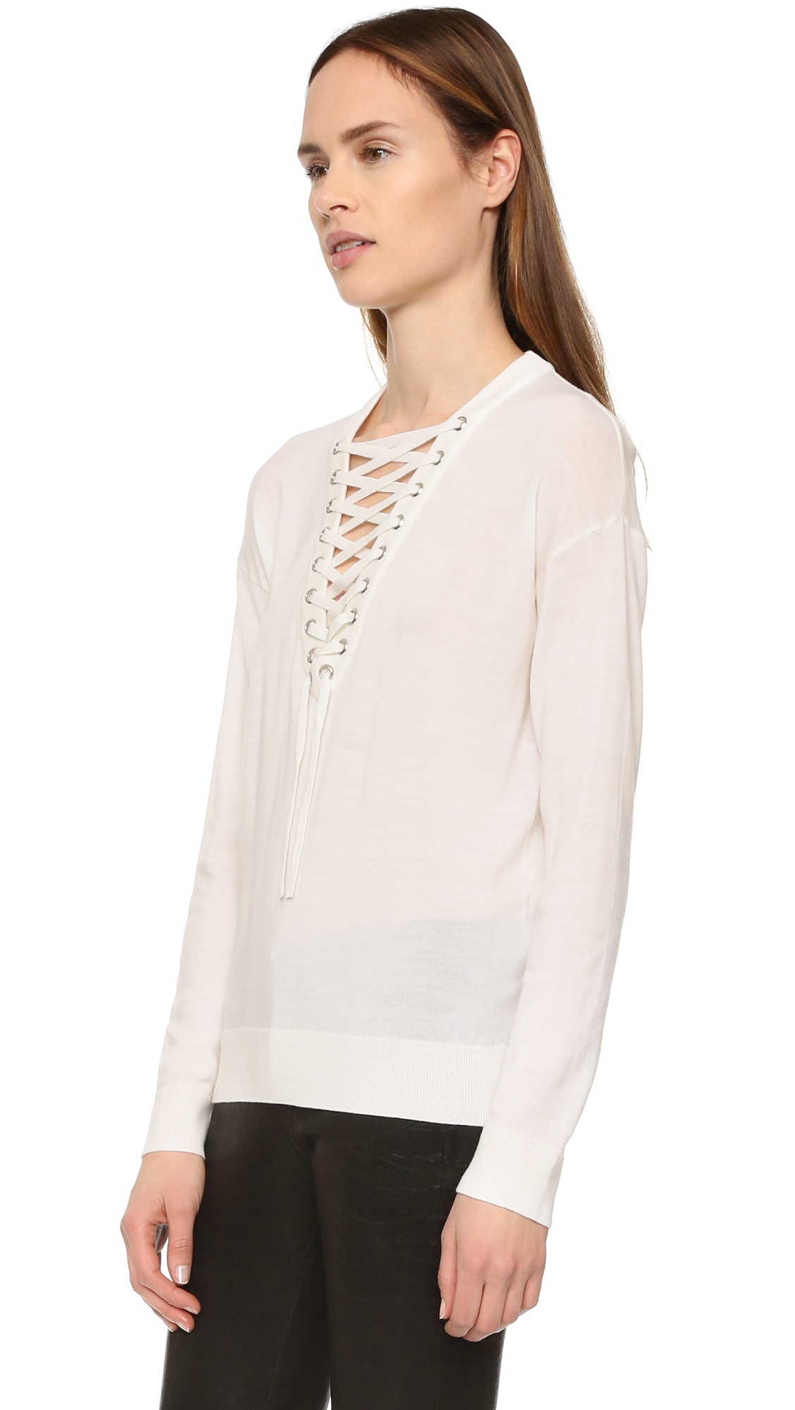 0c625d9786 Lyst - The Kooples Lace Up Merino Top in White