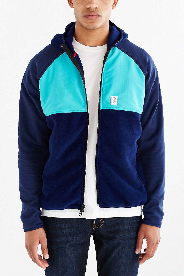 Lyst - Topo designs Fleece Hooded Sweatshirt in Blue for Men