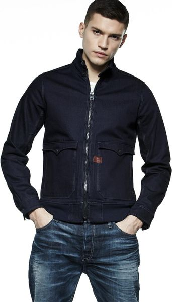 g star raw gstar raw mens hunter bomber jacket in blue for. Black Bedroom Furniture Sets. Home Design Ideas