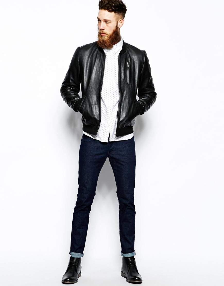 Asos Leather Bomber Jacket in Black for Men | Lyst