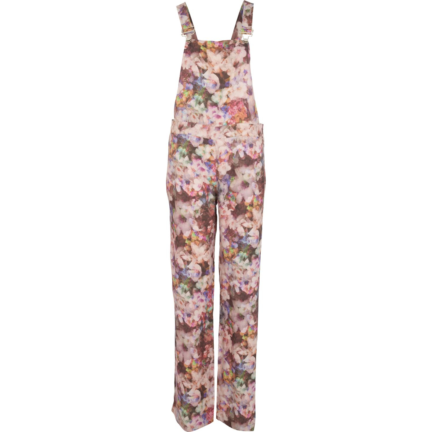 34872fdd93 River Island Pink Floral Print Long Overalls in Pink - Lyst