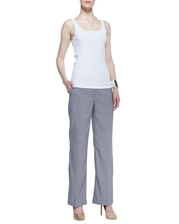 Eileen fisher Linen-Blend Straight-Leg Trousers in Gray | Lyst