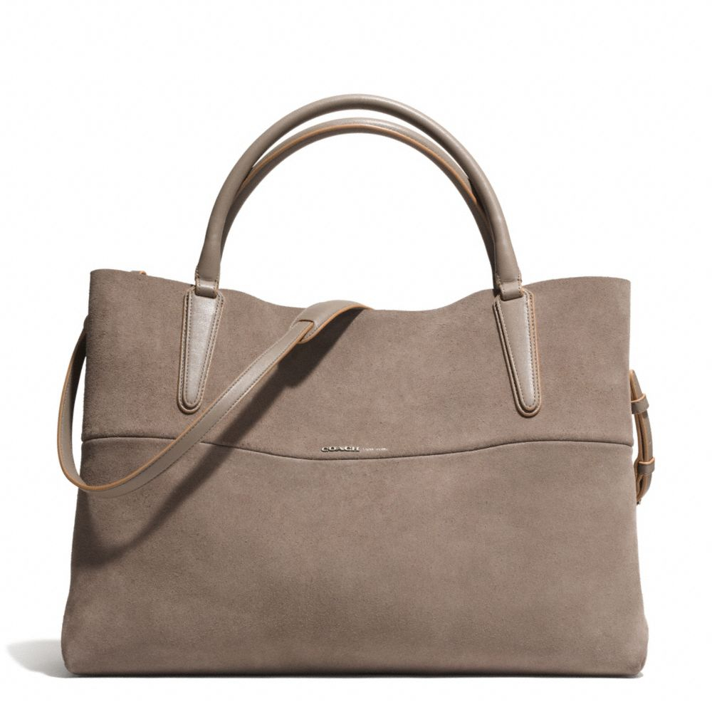coach large soft borough bag in suede in gray nickel