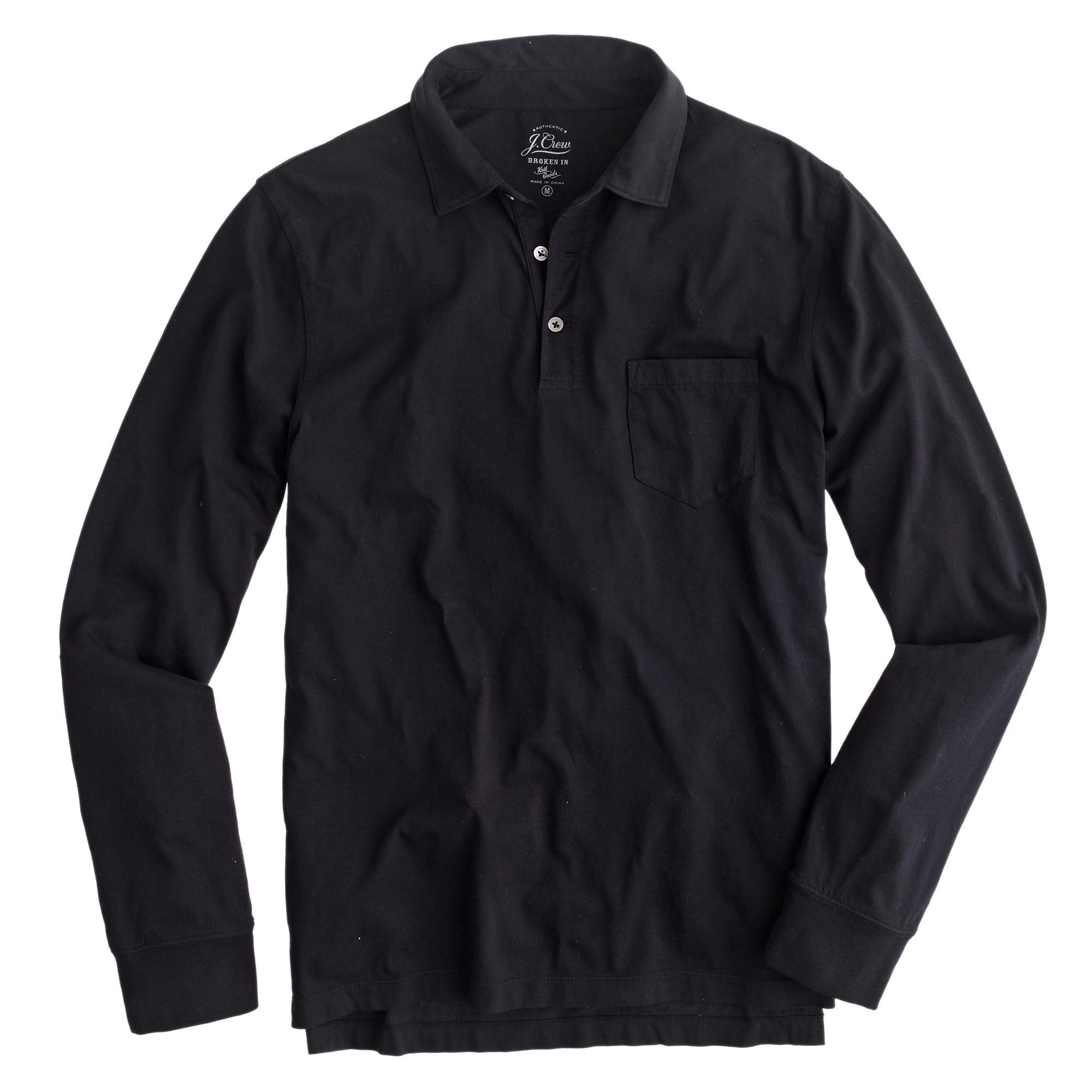 Tall Broken In Long Sleeve Pocket Polo Shirt In