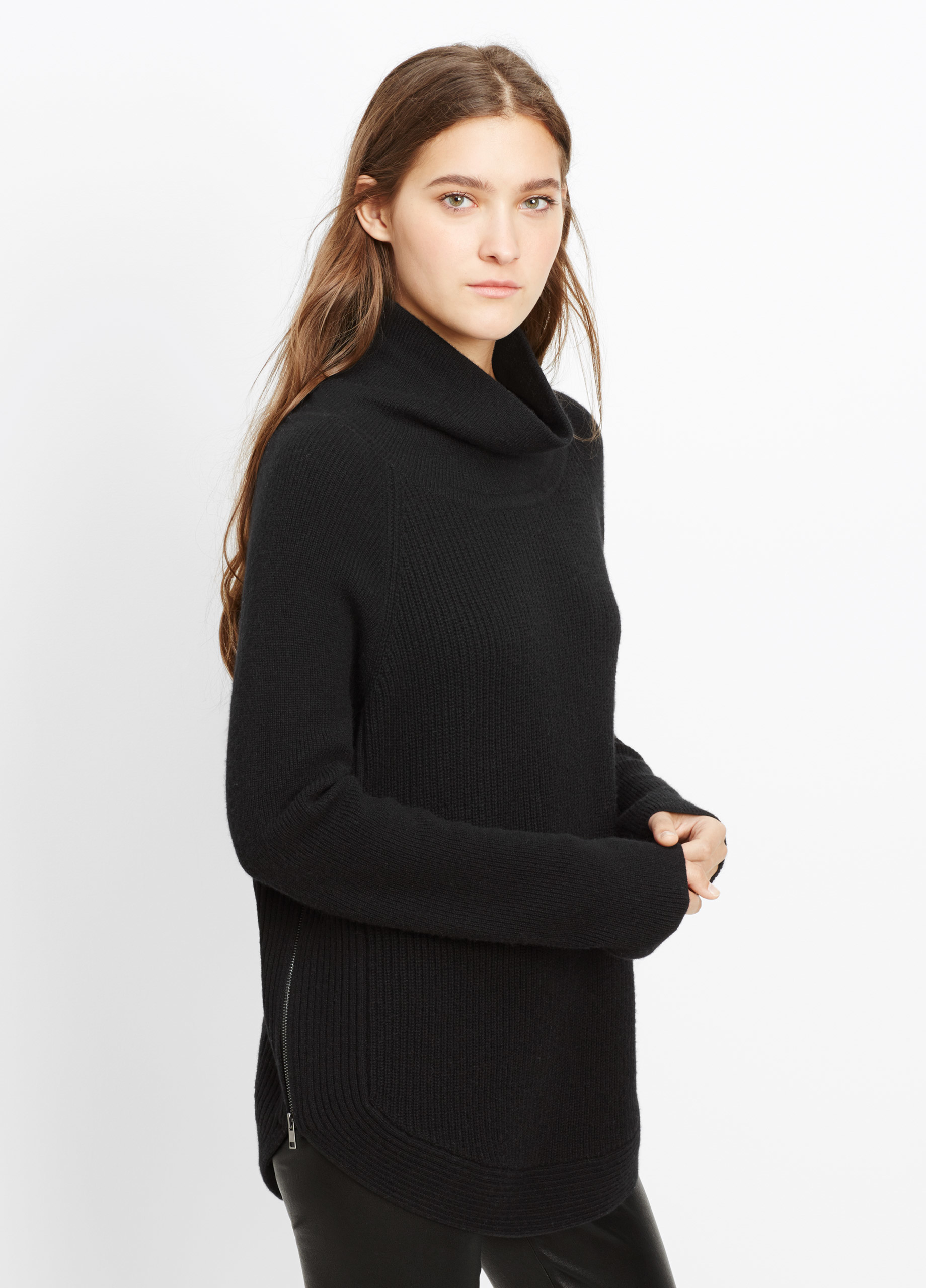 Vince Ribbed Turtleneck Sweater With Side Zippers in Black | Lyst