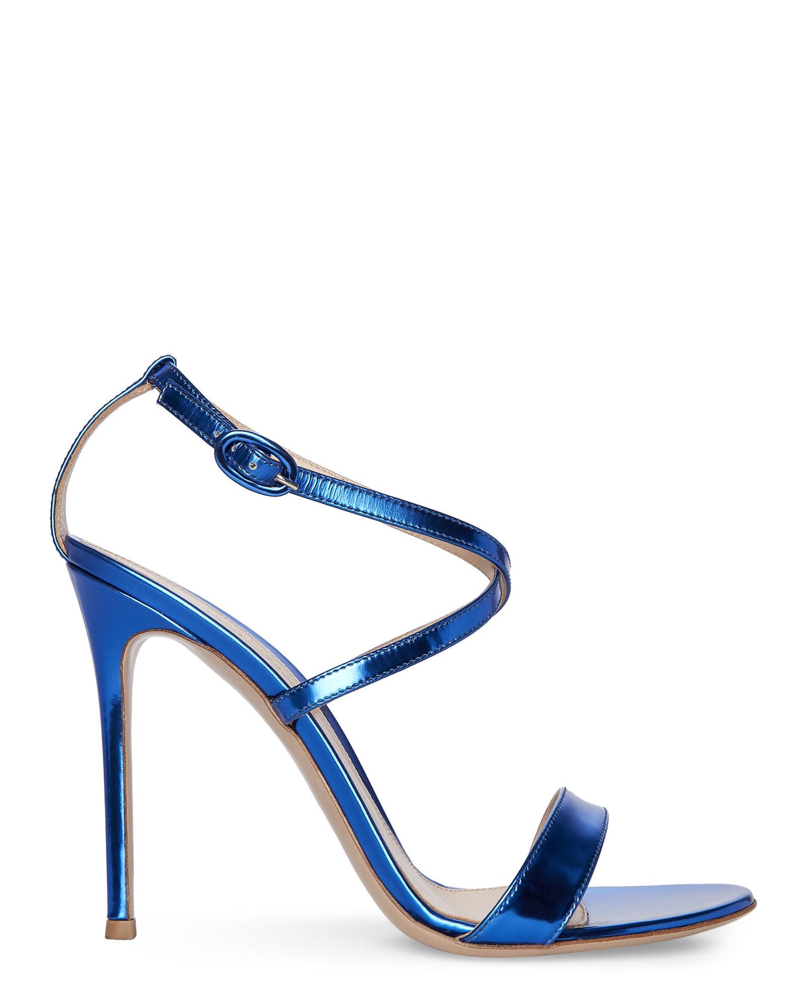 84464c68a34 Lyst - Gianvito Rossi Metallic Cobalt Strappy Sandals in Blue