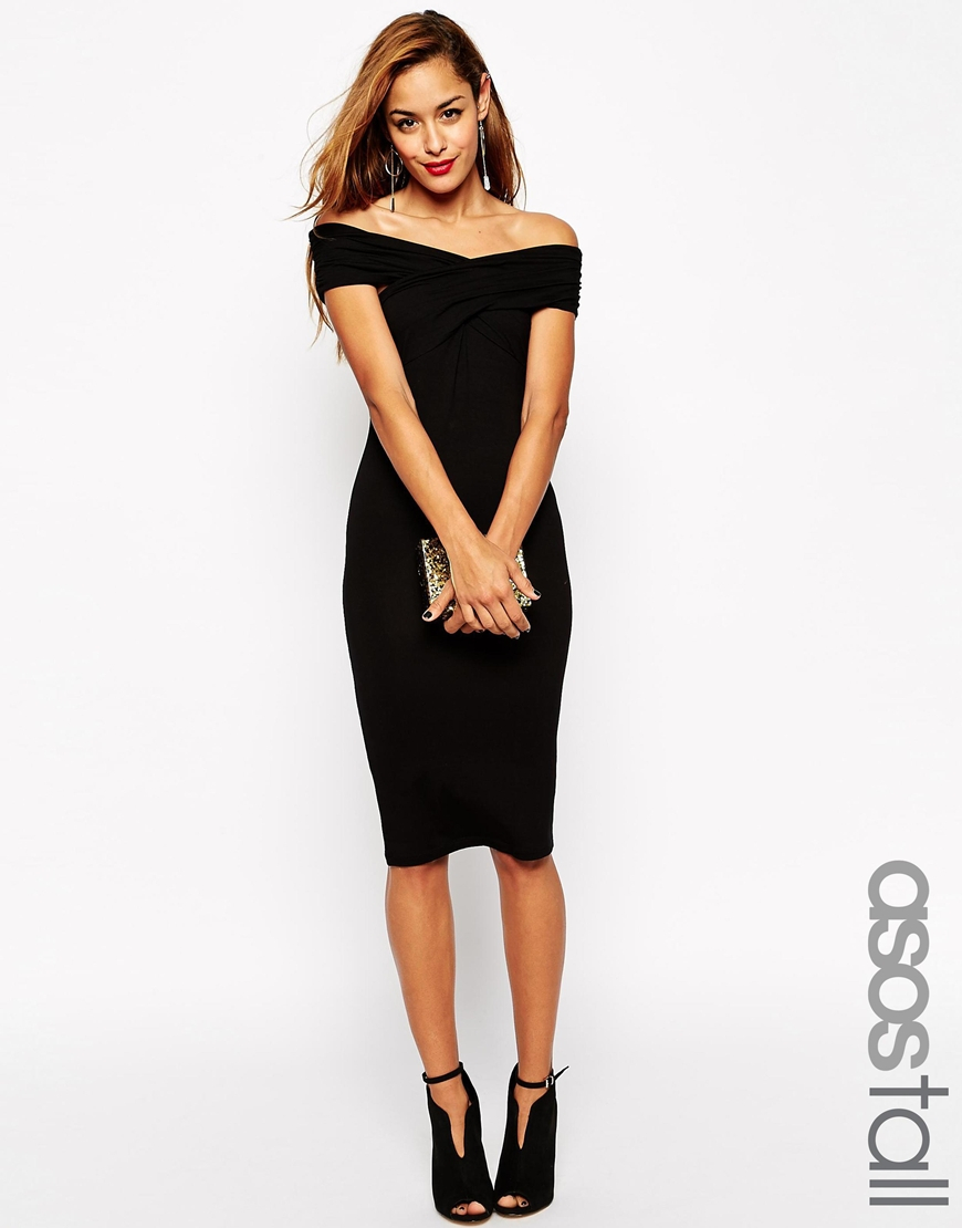 asos bodycon dress with bardot shoulder and cross front detail in black lyst. Black Bedroom Furniture Sets. Home Design Ideas