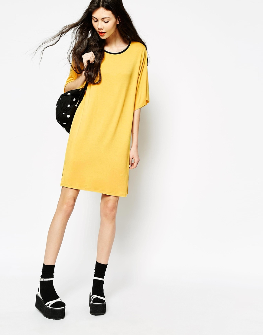 Lyst Monki Namoi T Shirt Dress In Yellow