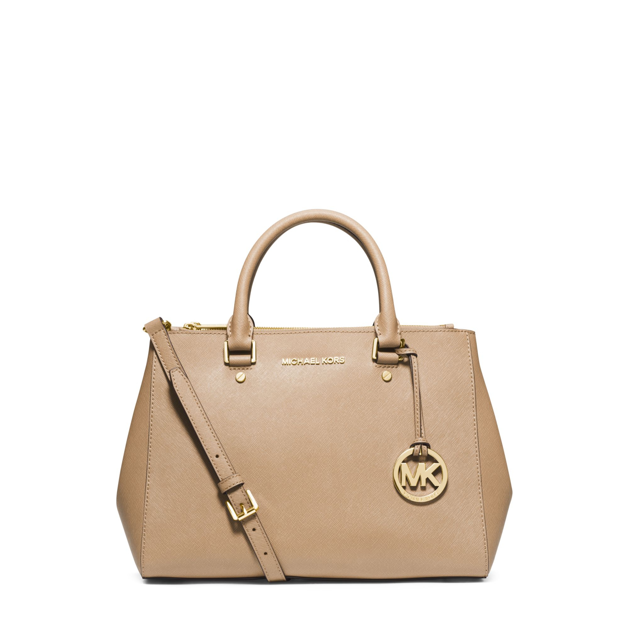 964fca11d0 Lyst - Michael Kors Sutton Medium Saffiano Leather Satchel in Natural