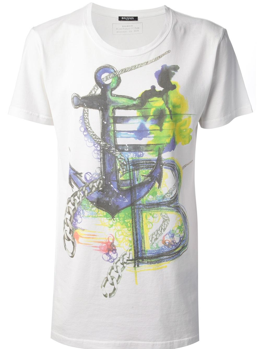 Balmain nautical logo print t shirt in white for men lyst for Balmain white logo t shirt