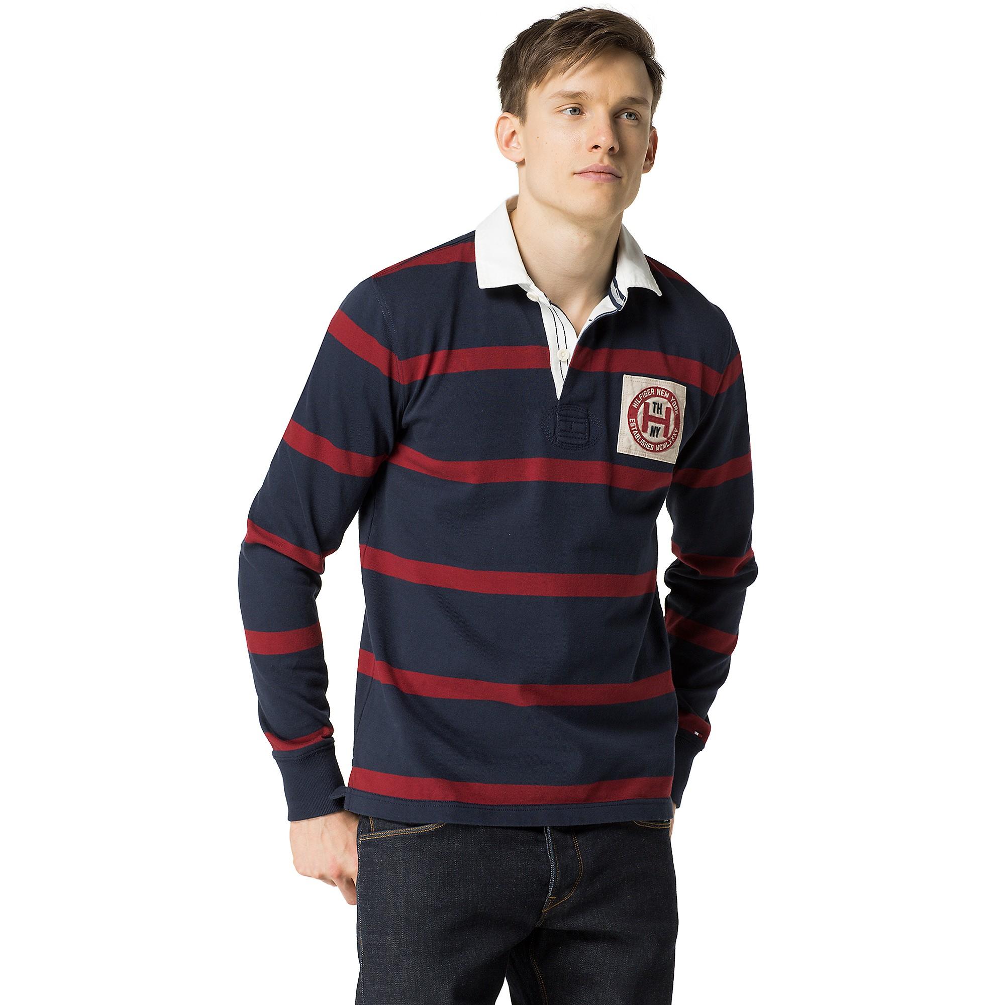 Tommy Hilfiger Vintage Fit Stripe Rugby In Red For Men
