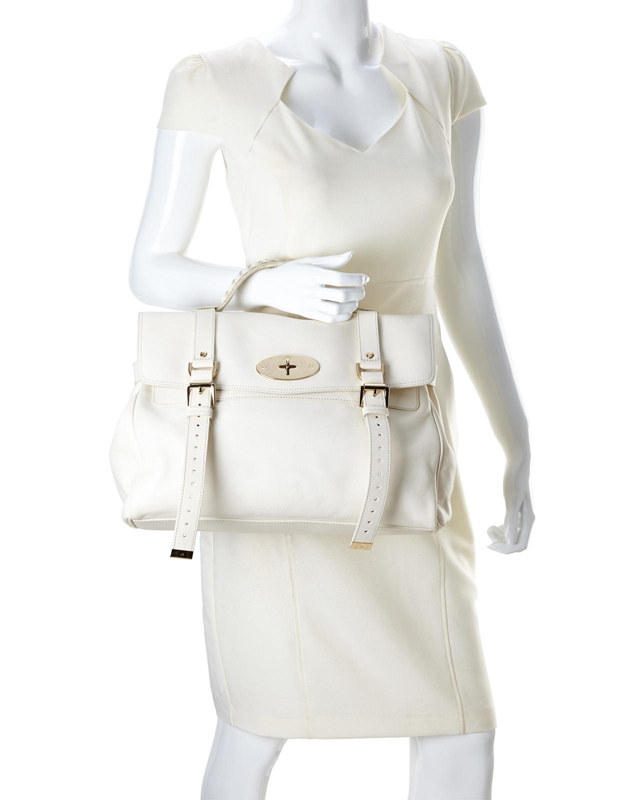 e5b022247f ... cheapest lyst mulberry cream oversized alexa handbag in white f42bf  de45e
