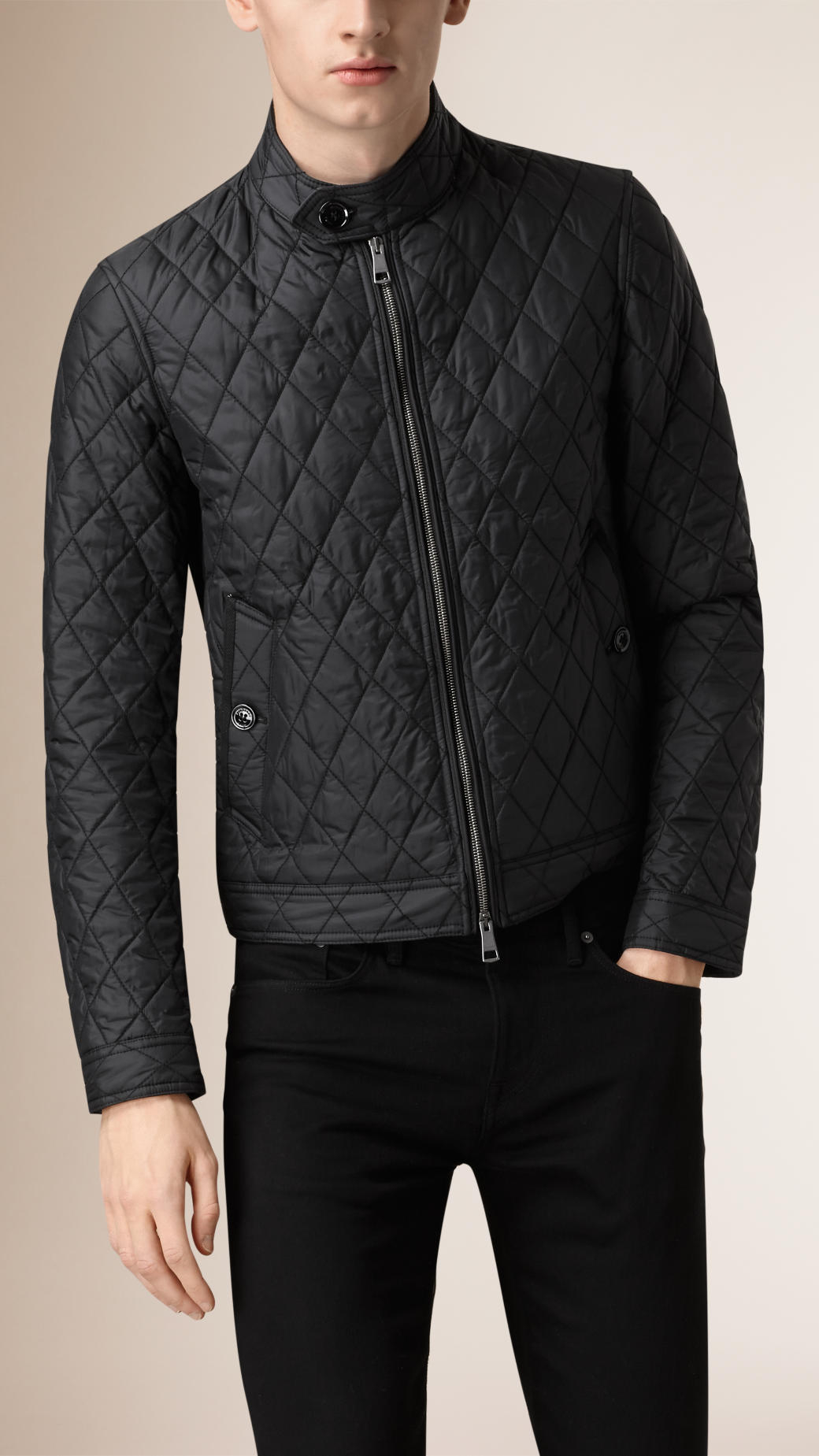 Lyst Burberry Diamond Quilted Harrington Jacket In Black For Men