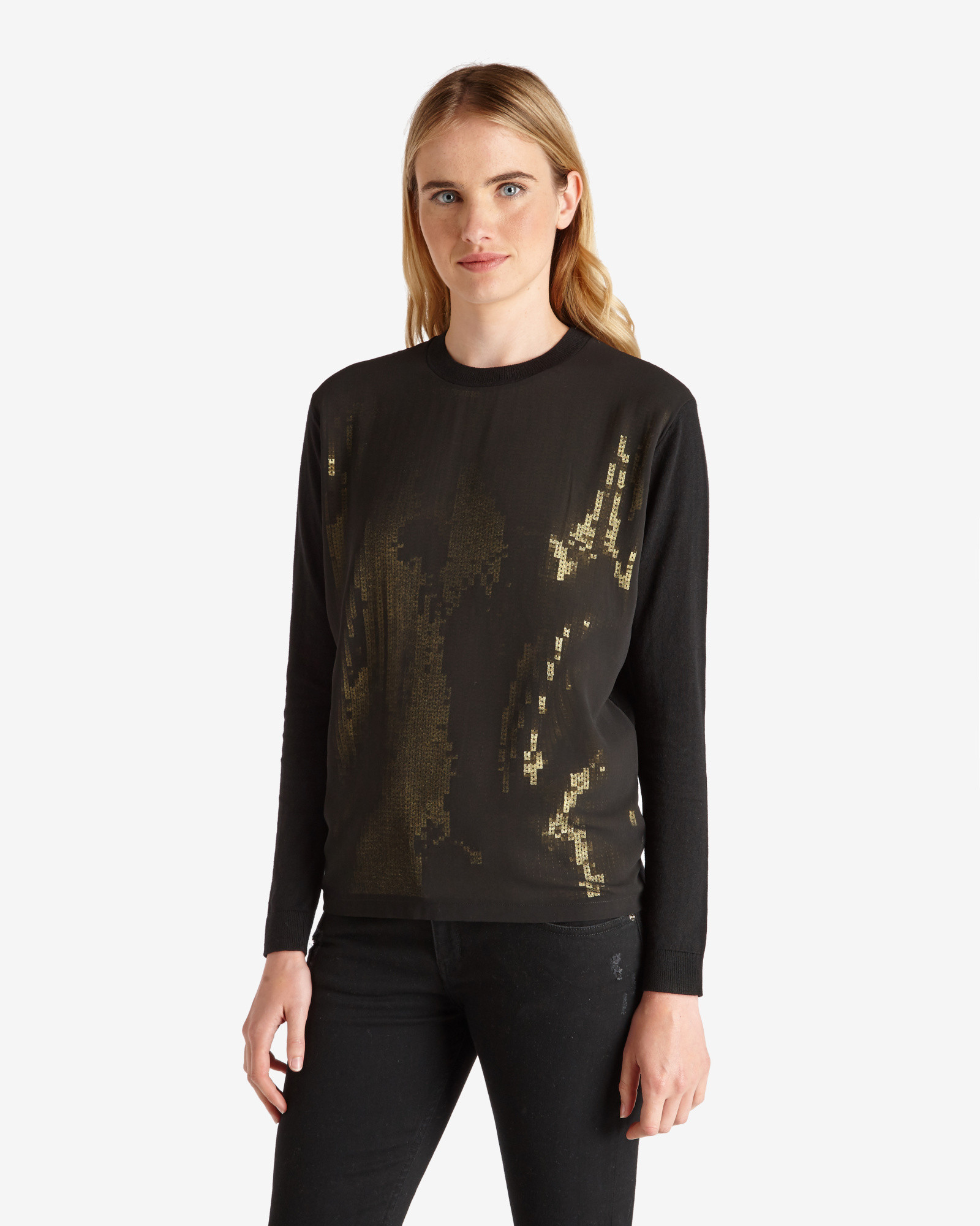 744122d6d4bb8 Ted Baker Sequin Sweater in Black - Lyst