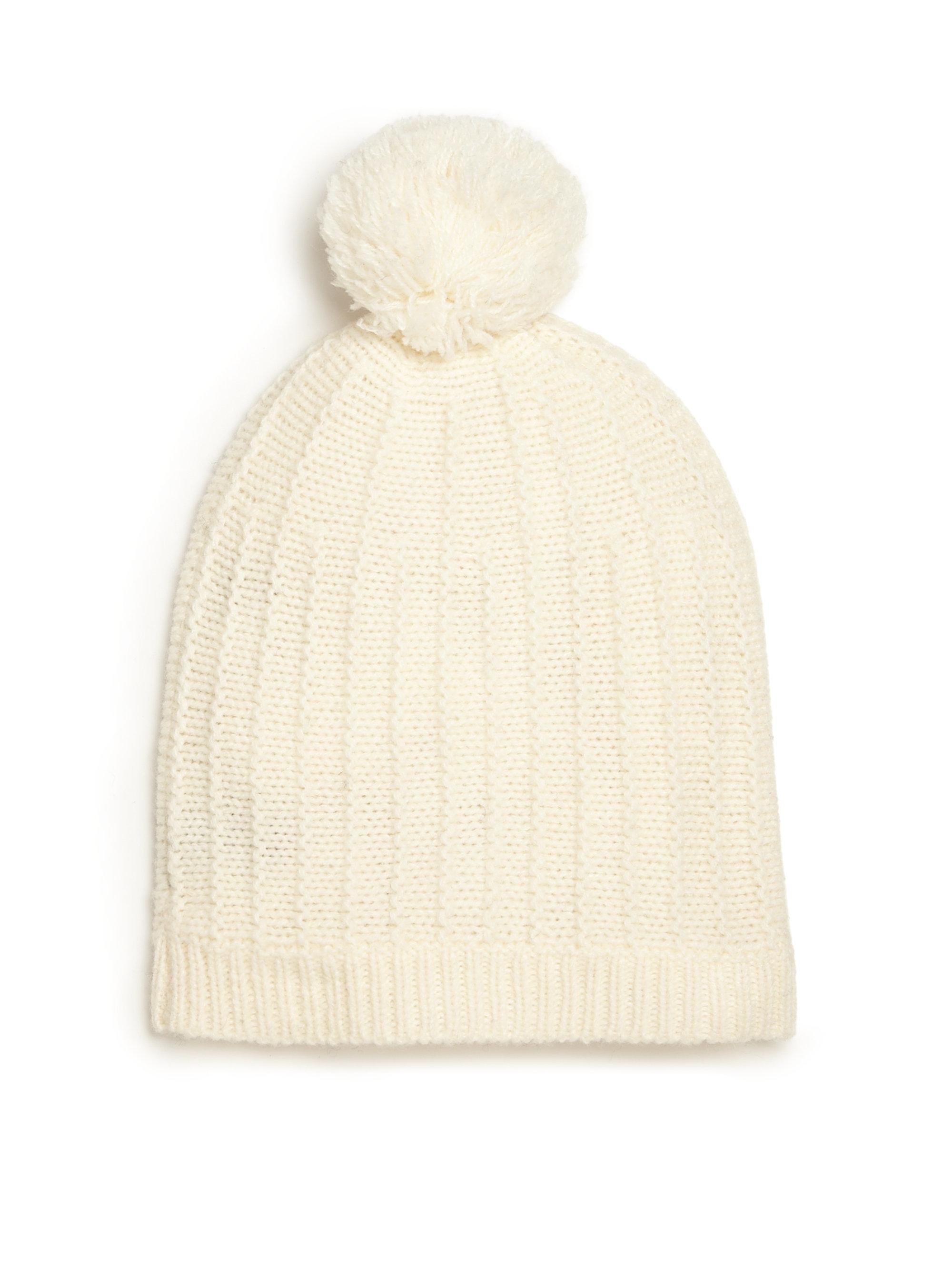 de691305440cf5 360cashmere Knit Pom Pom Hat in Natural - Lyst