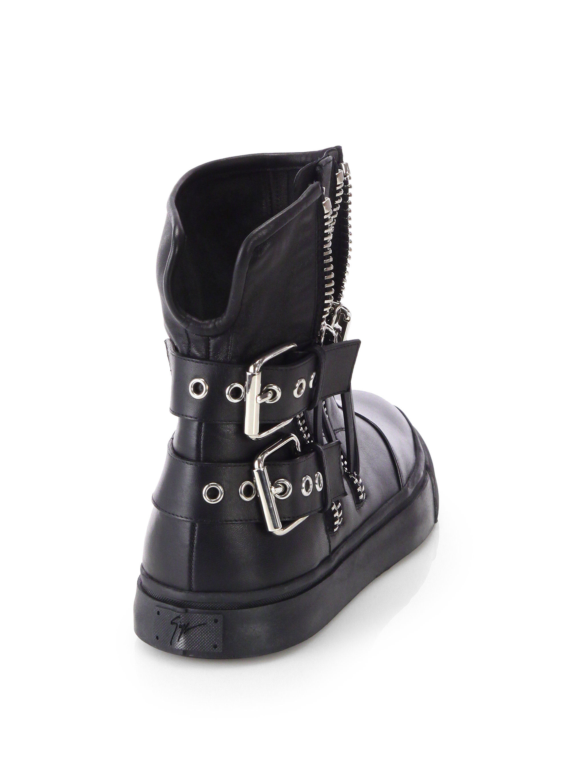 Giuseppe Zanotti Double Zip Amp Strap Leather Boots In Black