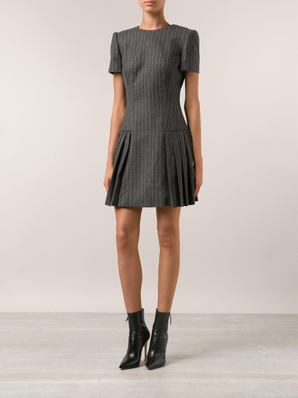 Lyst Alexander Mcqueen Pinstripe Pleated Dress In Gray